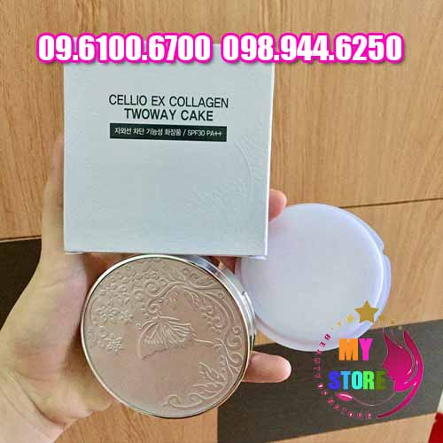 Phấn Phủ Cellio Ex Collagen Twoway Cake-2